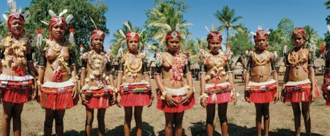 Kiriwina, Papua New Guinea --- Unmarried Girls in Costume for Traditional Dance on Kiriwina Island --- Image by © Macduff Everton/Corbis
